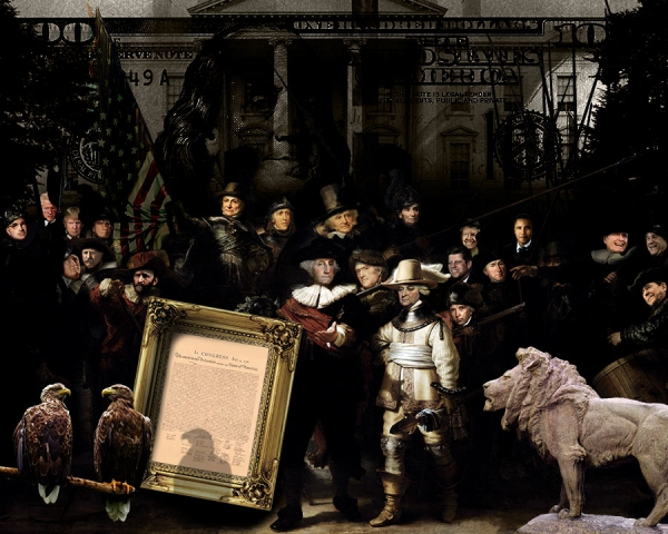 Historical painting about impeachment of 3 presidents