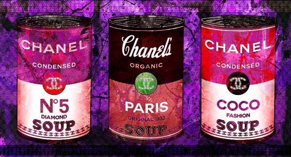 Mix media painting on purple